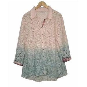 Soft Surroundings Aurelie Dip Dye Eyelet Ombre Lace Button Down Tunic Size L